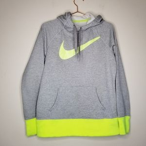 Nike therma-fit gray and green sweatshirt